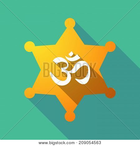Illustration of a long shadow sheriff star with an om sign poster