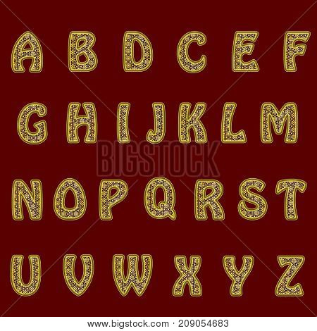 A complete set of gold letters with lace mesh. The edges of the letters are made with thin wire. Font is isolated by a dark red background. Letters are made in 3D shapes. Vector illustration.