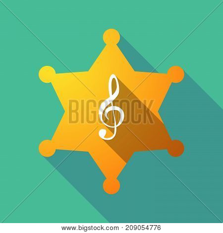 Illustration of a long shadow sheriff star with a g clef poster