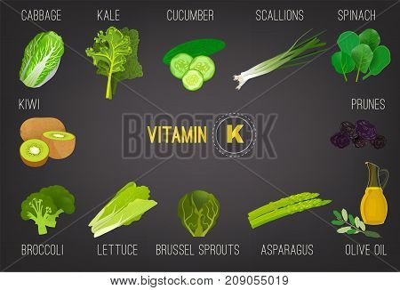 Vitamin K vector illustration. Foods containing vitamin K in bright modern style. Source of vitamin K - greens, vegetables, salads on grey background. Medical, healthcare and dietary creative concept.