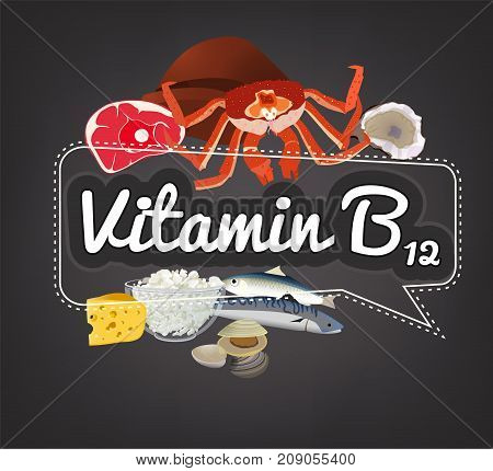 Vitamin B12 banner. Beautiful vector illustration with caption lettering and top foods highest in vitamin B12. Useful for leaflet, brochure or poster design as a header or other graphic element.
