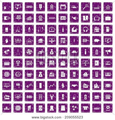 100 sales icons set in grunge style purple color isolated on white background vector illustration