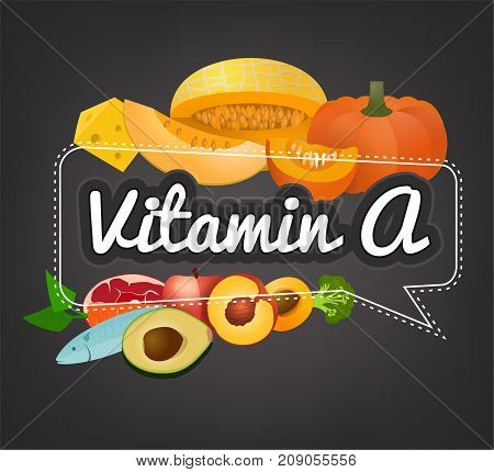 Vitamin A banner. Beautiful vector illustration with caption lettering and top foods highest in vitamin A. Useful for leaflet, brochure or poster design as a header or other graphic element.