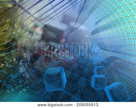 Abstract computer background - digits in the tunnel.