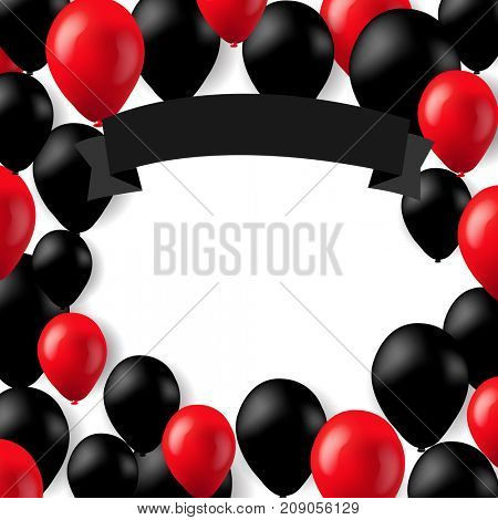 Black And Red Balloons Banner