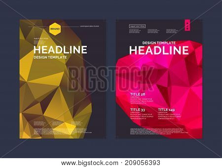 Brochure template for business and cover modern journal. Abstract polygonal background. Low poly design.