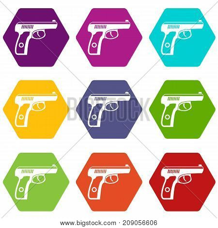 Gun icon set many color hexahedron isolated on white vector illustration