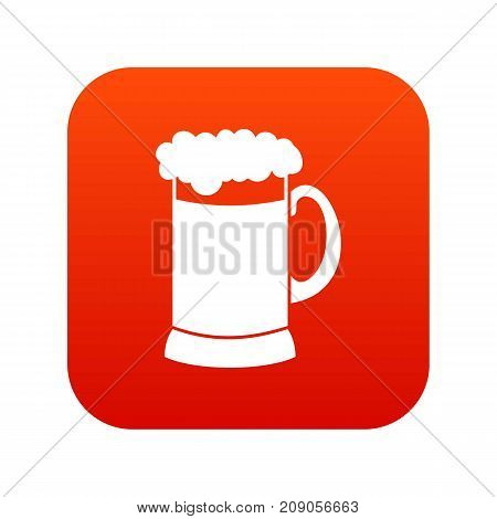 Mug of dark beer icon digital red for any design isolated on white vector illustration