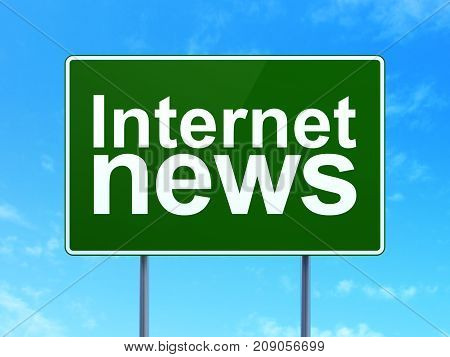 News concept: Internet News on green road highway sign, clear blue sky background, 3D rendering