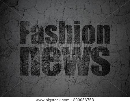 News concept: Black Fashion News on grunge textured concrete wall background
