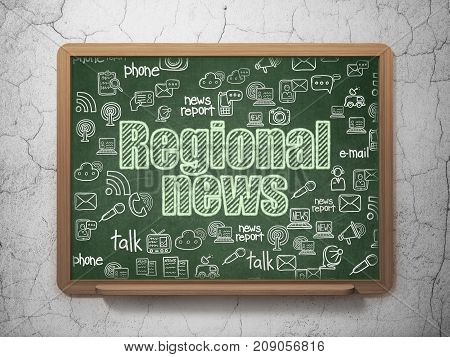 News concept: Chalk Green text Regional News on School board background with  Hand Drawn News Icons, 3D Rendering