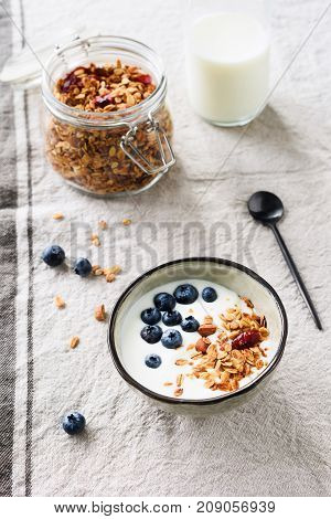 Yogurt With Blueberries And Granola. Healthy Breakfast Food