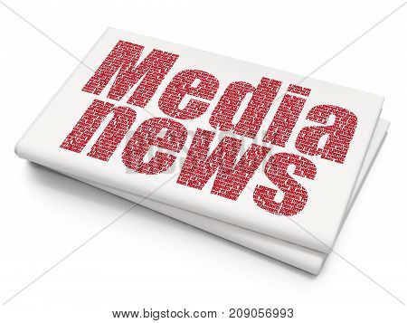 News concept: Pixelated red text Media News on Blank Newspaper background, 3D rendering