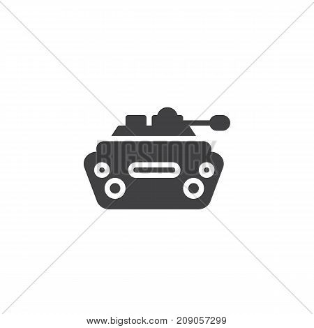 Military tank icon vector, filled flat sign, solid pictogram isolated on white. Symbol, logo illustration.