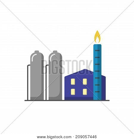 Natural gas plant icon in flat style. Non-renewable energy industrial concept. Fossil fuel energy symbol isolated on white background.