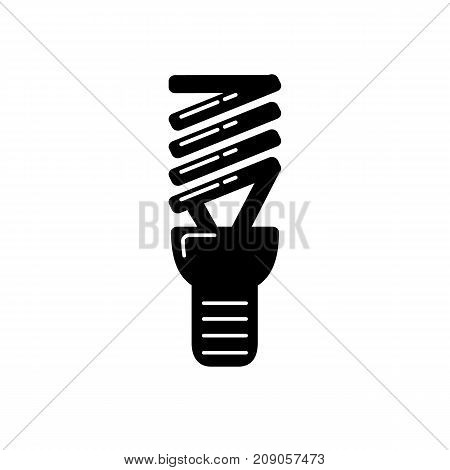 Energy saving light bulb silhouette icon in flat style. Spiral lamp linear symbol isolated on white background.
