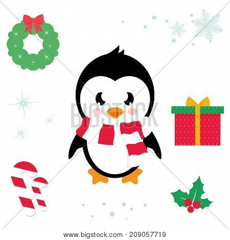Vector image of a cartoon cute penguin ector cartoon illustration
