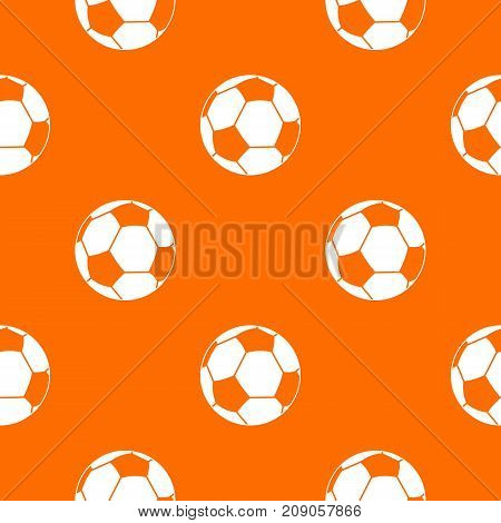 Football ball pattern repeat seamless in orange color for any design. Vector geometric illustration