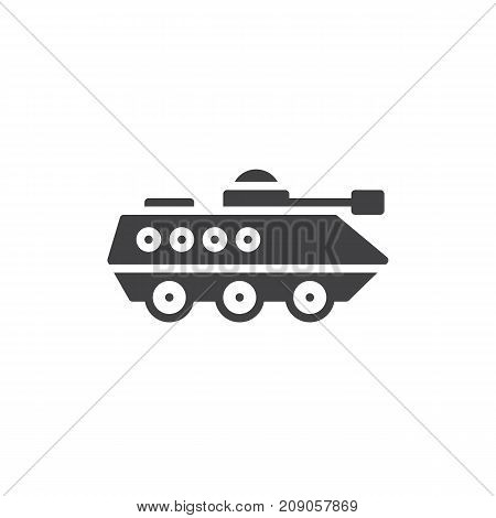Amphibious military vehicle icon vector, filled flat sign, solid pictogram isolated on white. Infantry armored vehicle symbol, logo illustration.