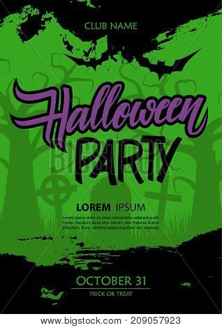 Halloween party poster template with hand lettering and brush stroke. Vector illustration.