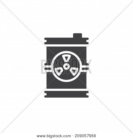 Toxic barrel icon vector, filled flat sign, solid pictogram isolated on white. Radioactive waste symbol, logo illustration.
