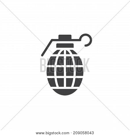 Grenade icon vector, filled flat sign, solid pictogram isolated on white. Frag symbol, logo illustration.