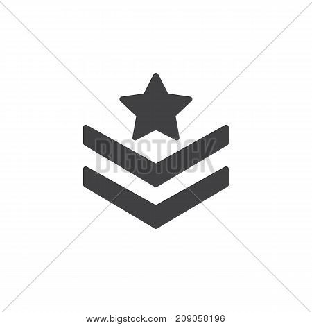 Rank shoulder straps with star icon vector, filled flat sign, solid pictogram isolated on white. Symbol, logo illustration.