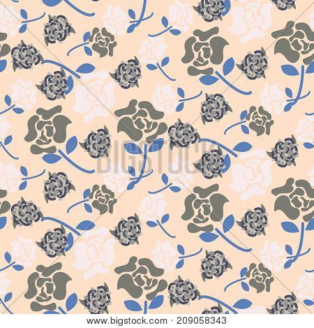 Pale rose pink and grey floral pattern seamless vector. Flat colored flowers for print on fabric or wallpaper.