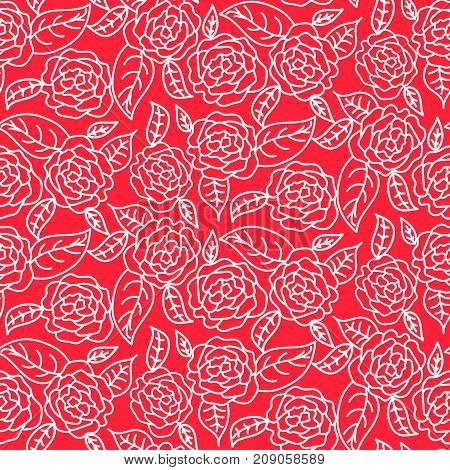 Red line roses floral pattern seamless vector. Flat white contour colored flowers for print on fabric or wallpaper.