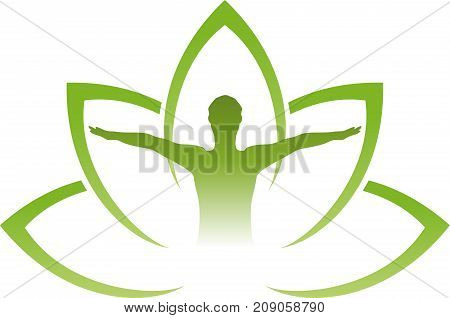 Person and leaves, plant, wellness and naturopathic logo