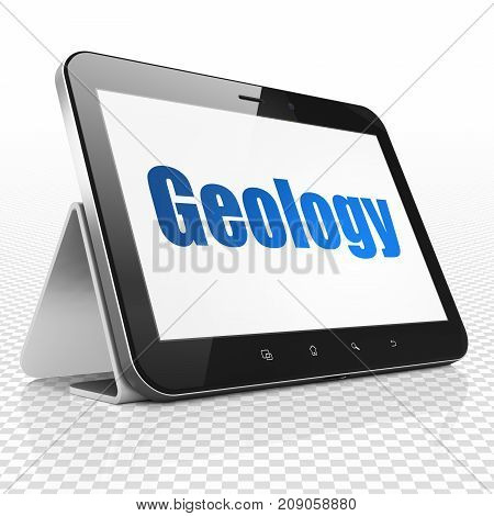 Studying concept: Tablet Computer with blue text Geology on display, 3D rendering