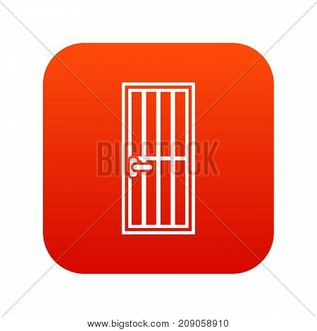 Steel door icon digital red for any design isolated on white vector illustration