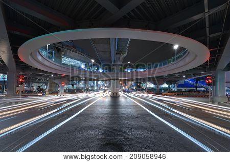 Bangkok tunnel intersection with traffic jam at Siam technology transportation concept Bangkok City Thailand