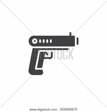 Gun icon vector, filled flat sign, solid pictogram isolated on white. Pistol symbol, logo illustration.