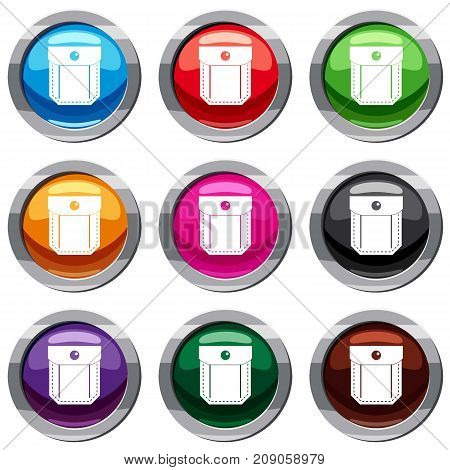 Pocket with valve and button set icon isolated on white. 9 icon collection vector illustration