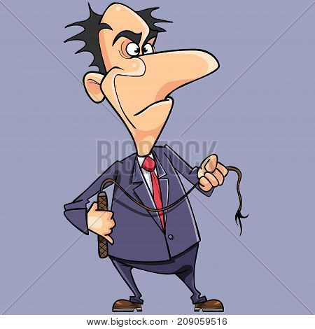 cartoon angry man in a suit and with a whip in his hand