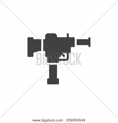 Gun icon vector, filled flat sign, solid pictogram isolated on white. Automatic weapon symbol, logo illustration.