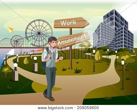 Man choosing career way. Vector illustration flat