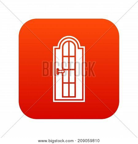 Arched wooden door with glass icon digital red for any design isolated on white vector illustration