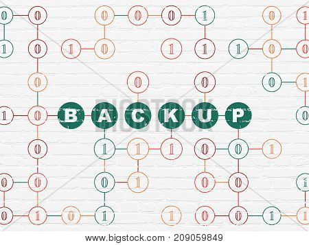 Database concept: Painted green text Backup on White Brick wall background with Binary Code
