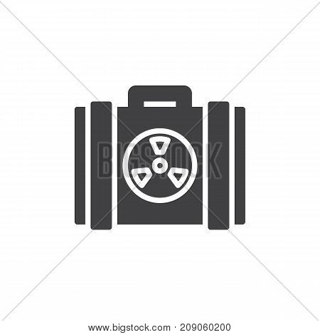 Nuclear case icon vector, filled flat sign, solid pictogram isolated on white. Symbol, logo illustration.