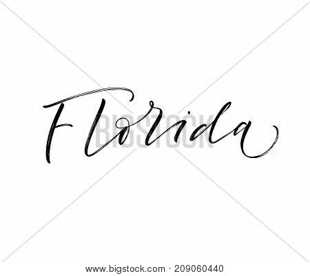 Handwritten U.S. state name Florida. Ink illustration. Modern brush calligraphy. Isolated on white background.