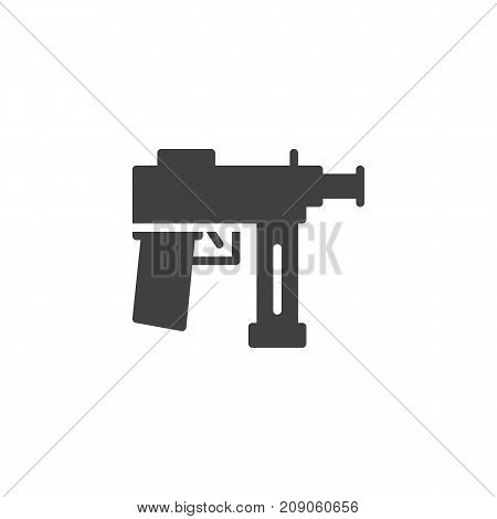 Automatic gun icon vector, filled flat sign, solid pictogram isolated on white. Firearm Symbol, logo illustration.