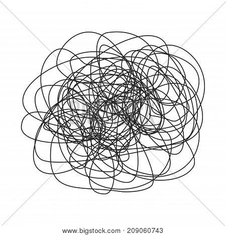 Abstract scribble, Hand drawn scrawl sketch, chaos doodle pattern isolated on white background. Vector illustration
