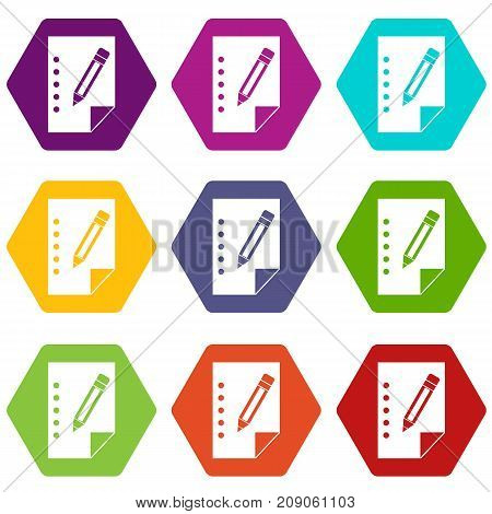 Notebook icon set many color hexahedron isolated on white vector illustration