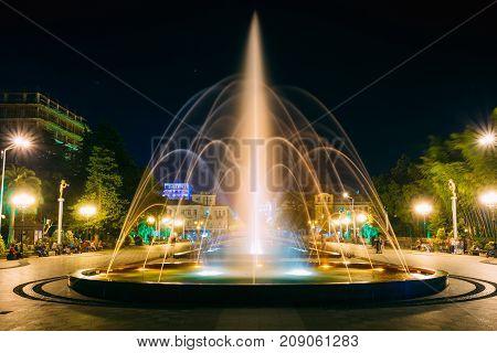 Batumi, Adjara, Georgia. Singing And Dancing Fountains Is Local Landmark At Boulevard Fountains. Night Illuminations.