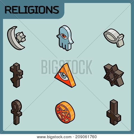 Religions color outline isometric icons. Vector illustration, EPS 10
