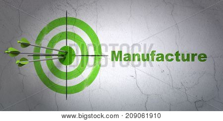 Success Industry concept: arrows hitting the center of target, Green Manufacture on wall background, 3D rendering