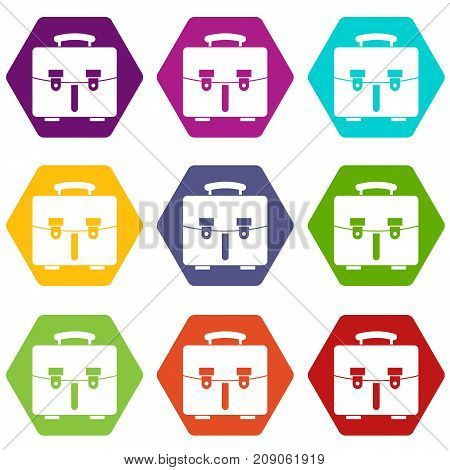 Diplomat bag icon set many color hexahedron isolated on white vector illustration
