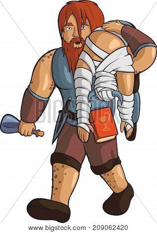 Vector cartoon drunken red-haired viking healer on white background